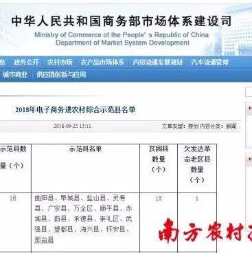 广东4县入选国家电子商务进农村综合示范县,各获中央财政1500万元扶持